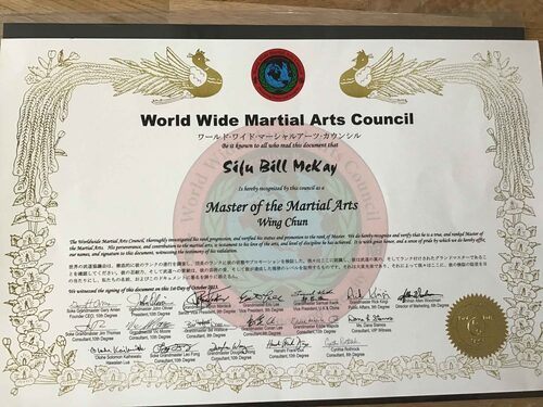 World Martial Arts Council Certificate